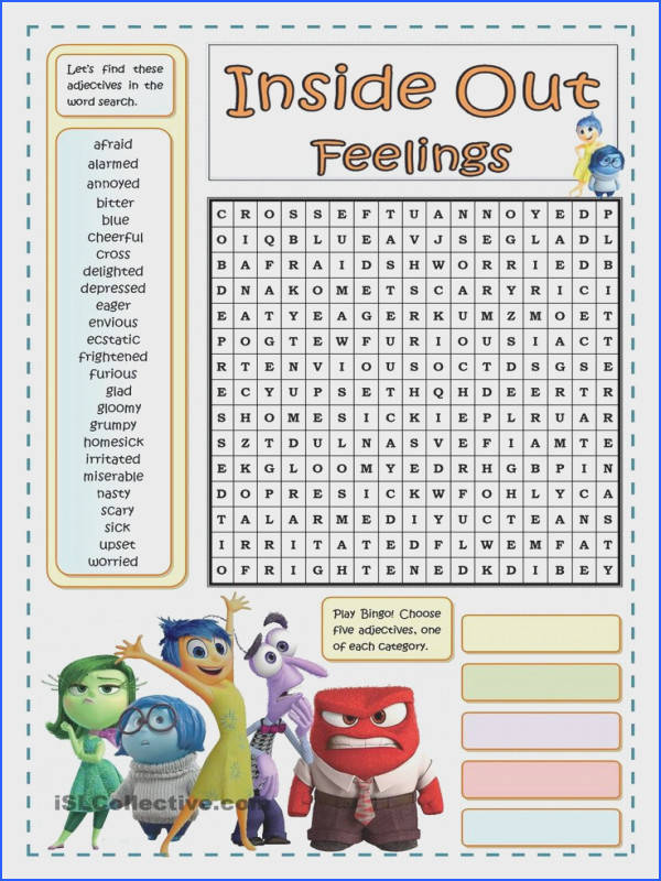 INSIDE OUT FEELINGS WORDSEARCH