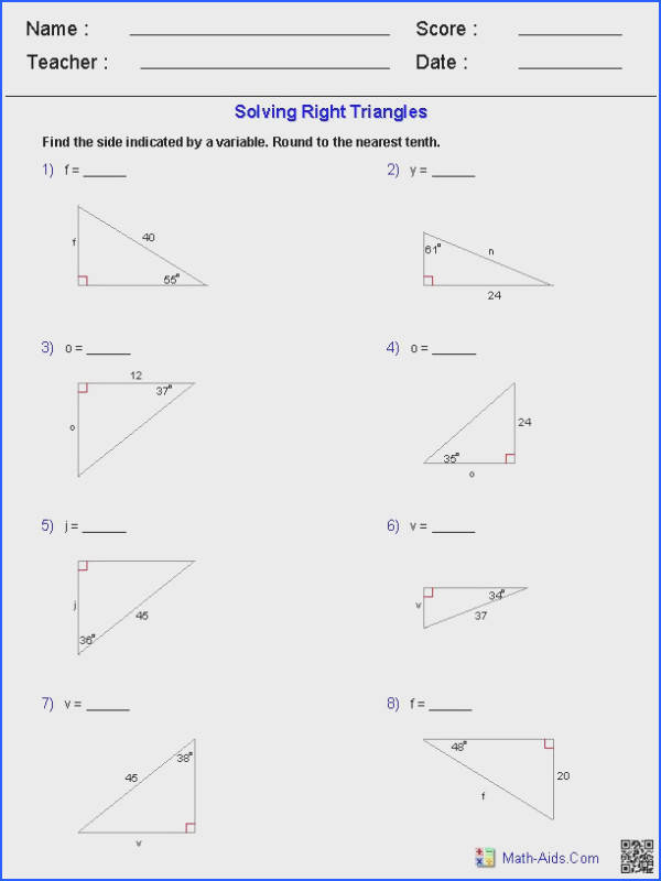 Solving Right Triangles Worksheets
