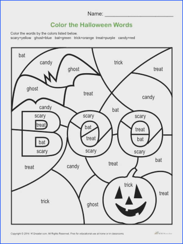 Reveal a fun Halloween illustration by coloring the Halloween words with different colors here