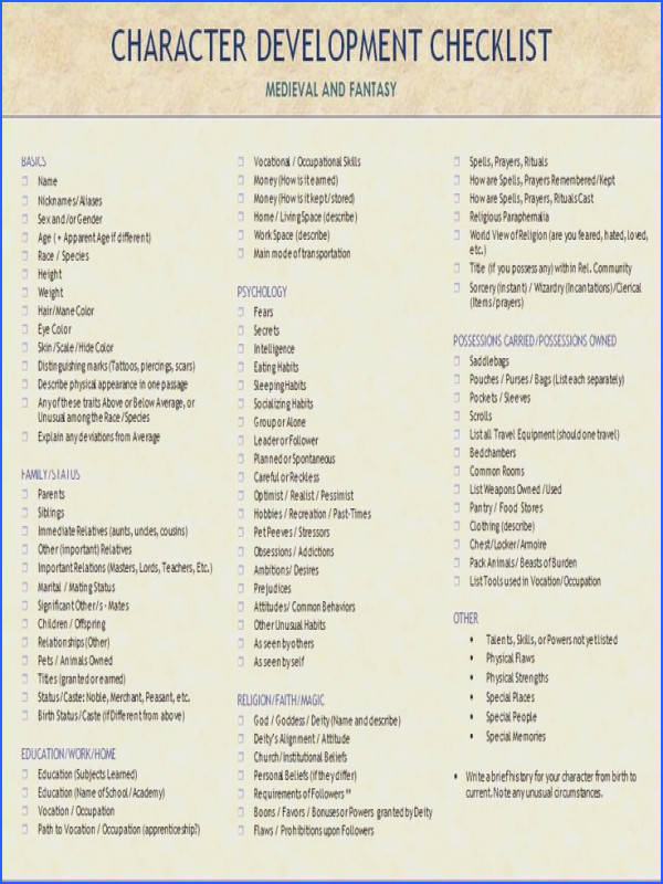 Character Development creation Checklist for Me val and Fantasy Characters writing