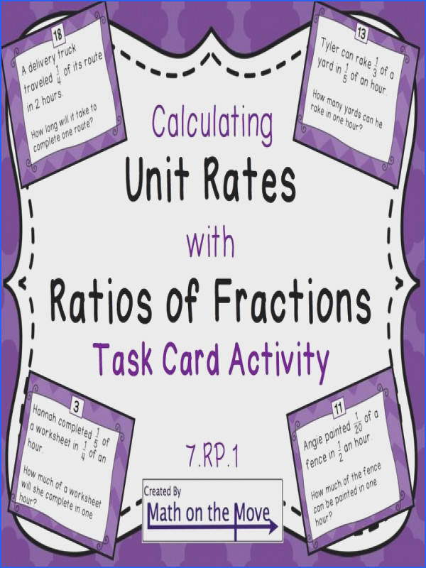 Unit Rates with plex Fractions Task Card Activity 7 RP 1