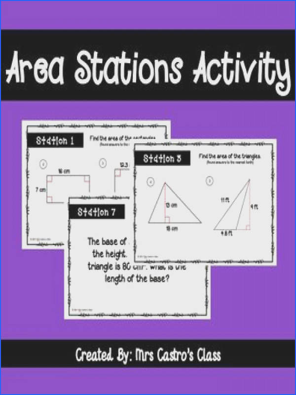 Area Stations Activity is a fun way for students to review finding the area of certain