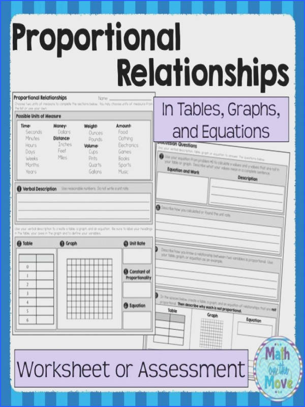 Proportional Relationships Worksheet Assessment 7 RP 2