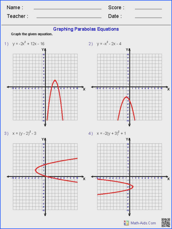 Graphing Quadratic Functions Worksheets