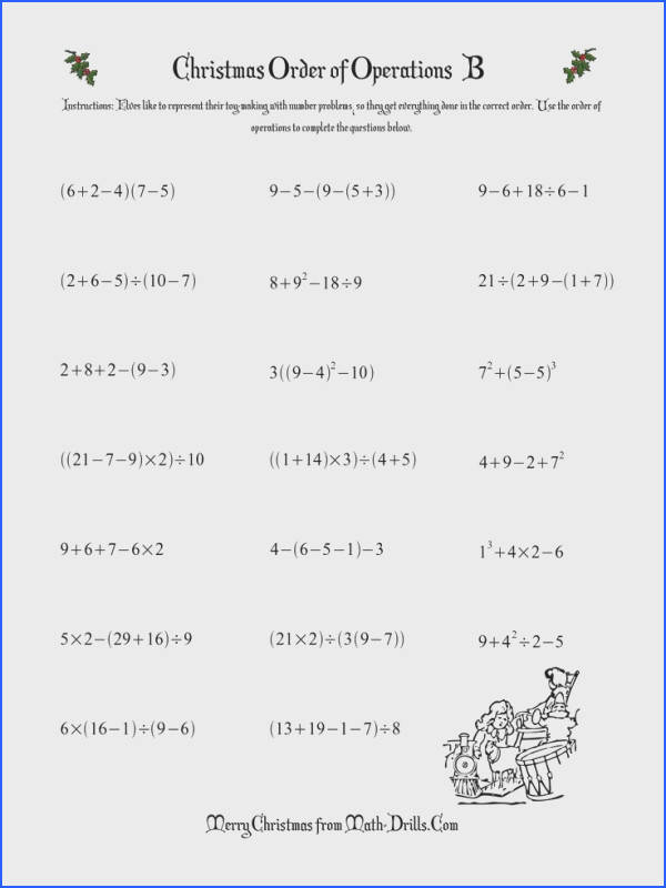 order of operations worksheet Christmas Math Worksheet Order of Operations Three Steps