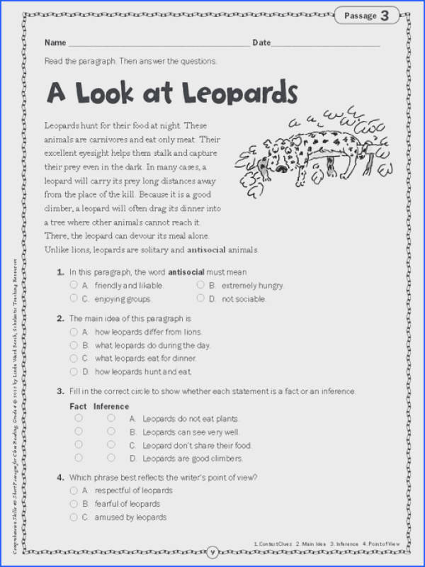 3rd Grade Ela Worksheets Unique Prehension Worksheet Grade 4 Worksheets for All s 3rd Grade