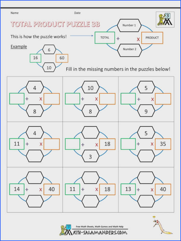 third grade math puzzle worksheets total product puzzle