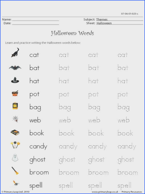 PrimaryLeap Halloween words Worksheet