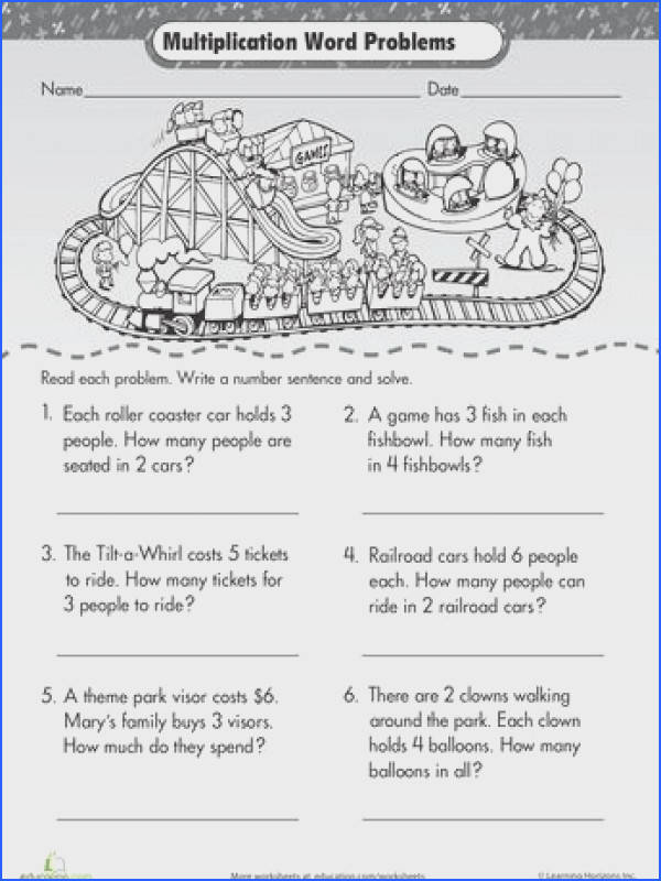 Intro to Multiplication Roller Coaster Word Problems