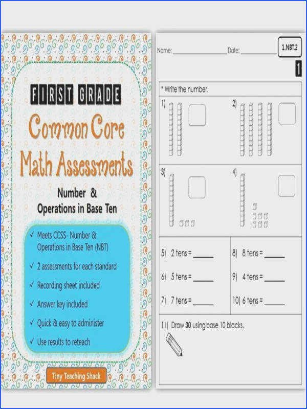 First Grade mon Core Math Assessments Number & Operations in Base Ten NBT
