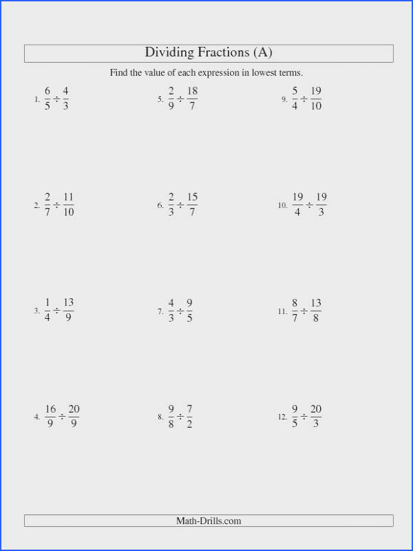 Fractions Worksheet Dividing and Simplifying Proper and Improper Fractions with Three Terms All