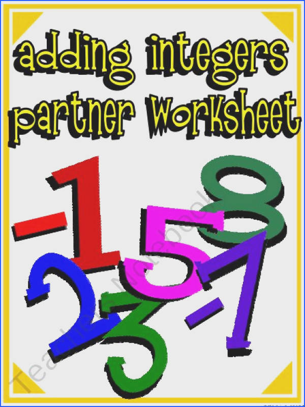 Adding Integers FREE Worksheet product from Math in the Middle on TeachersNotebook