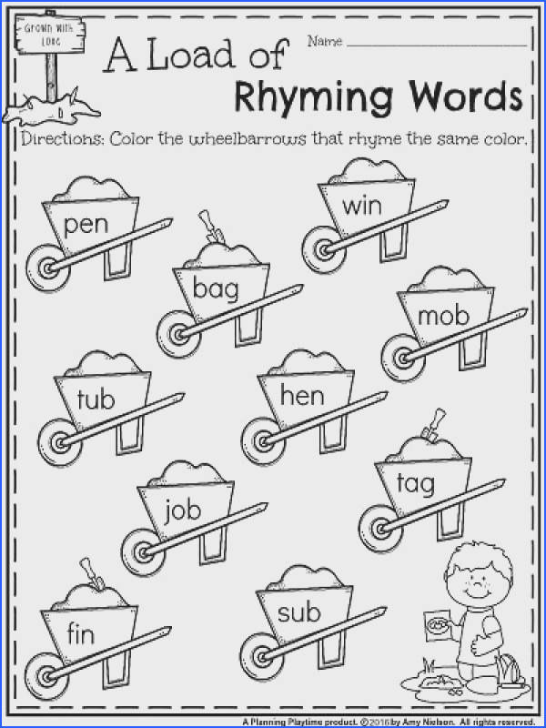 Kindergarten Rhyming Words Worksheets for May