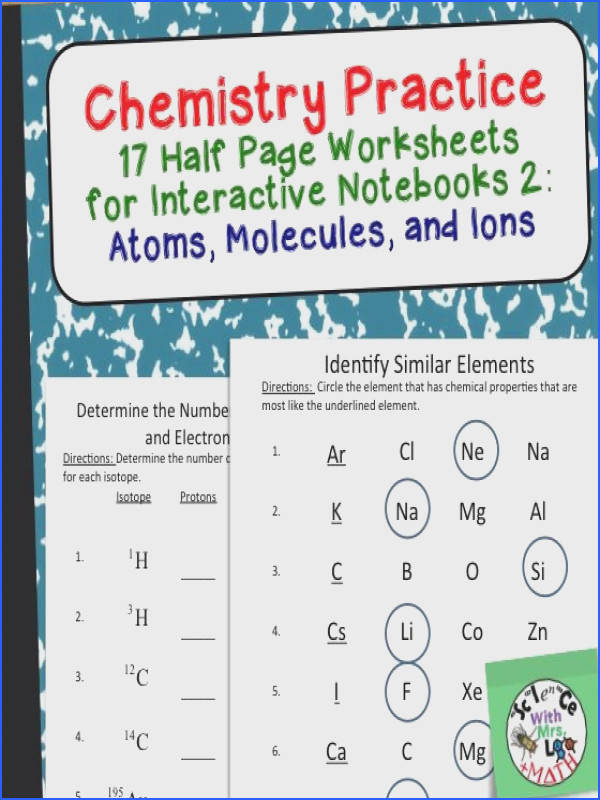 Chemistry Practice Worksheets that work great in interactive notebooks This set has 17 half page