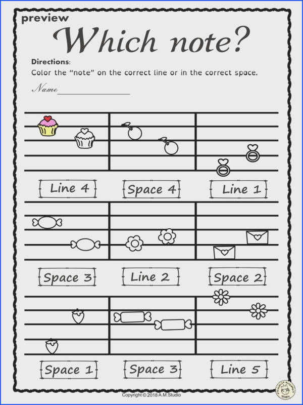 This set of 20 Valentine s day themed worksheets is designed to help your students practice identifying whether a pitch is on a line or in a space and