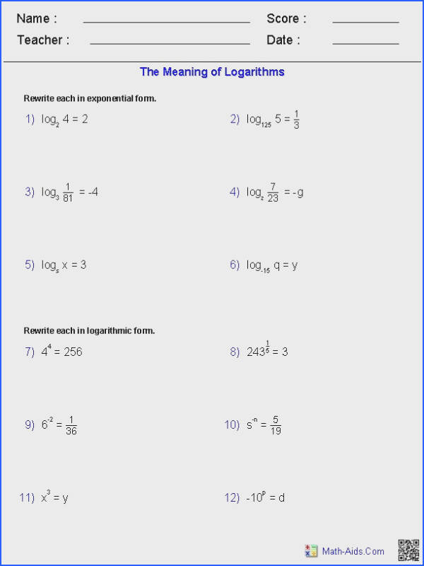 The Meaning of Logarithms Worksheets