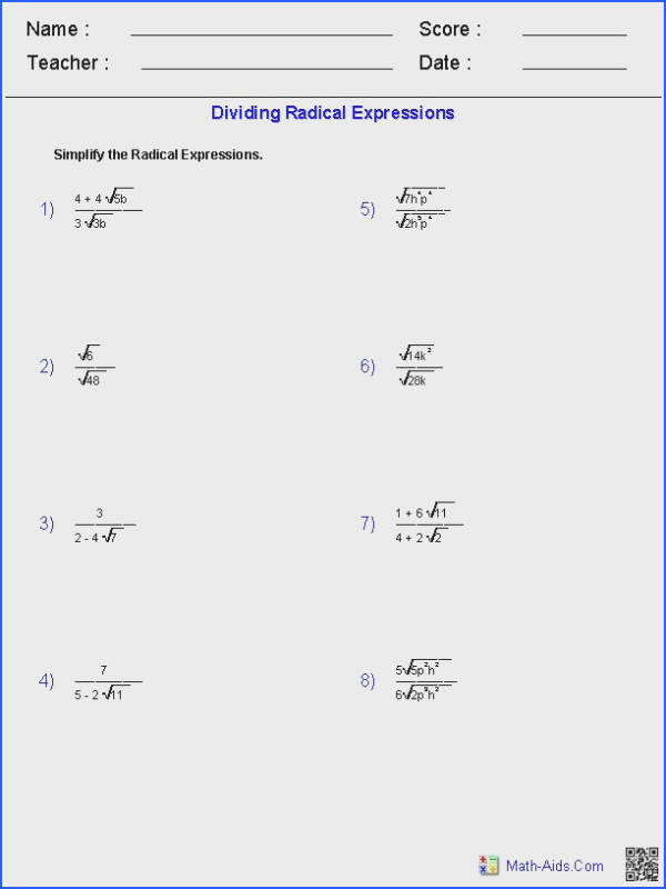 Dividing Radical Expressions Worksheets