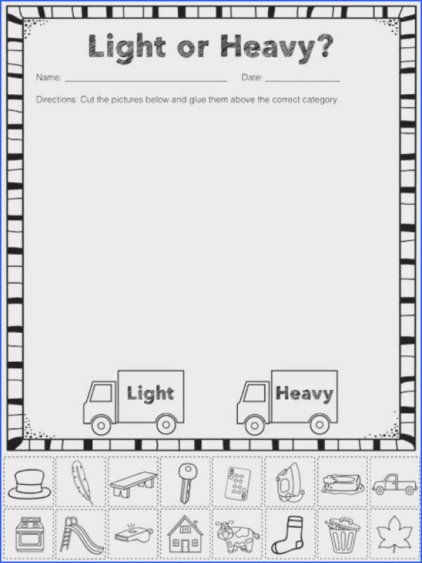 Measurement capacity FREE Heavy and Light Sorting Activity