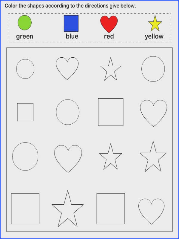 Shapes math Worksheets preschool Worksheets