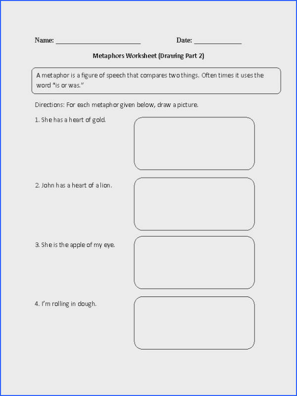 Metaphor Worksheet Drawing Part 2 Intermediate