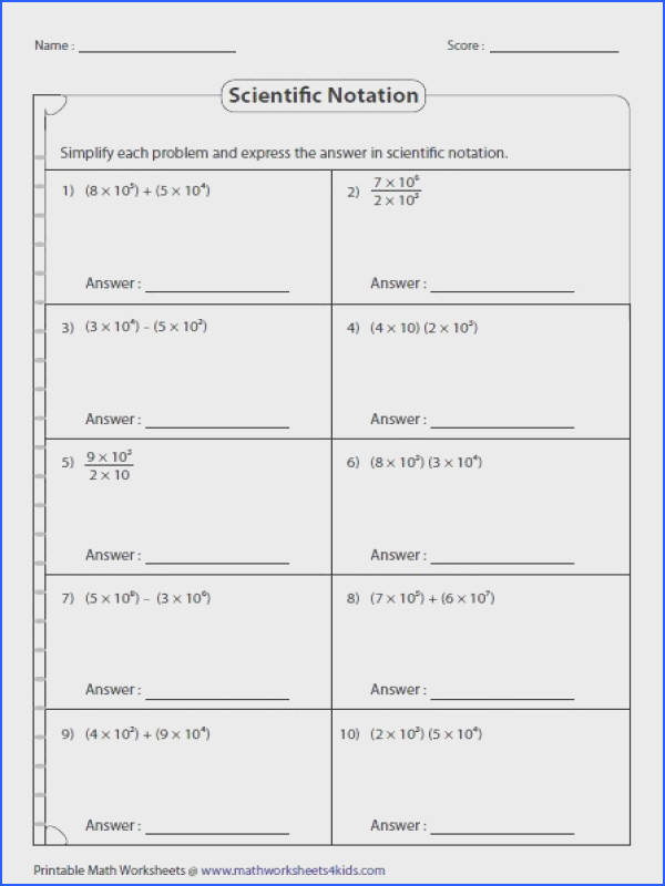 Scientific notation worksheets contain rewriting whole numbers and decimals in both scientific notation and standard form