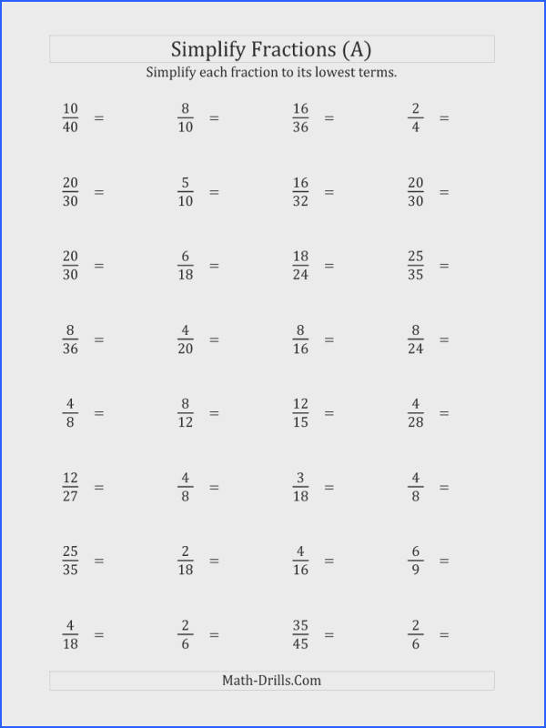 Simplify Proper Fractions to Lowest Terms Harder Version A Math Worksheet