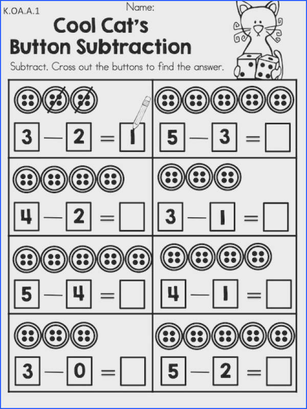 Cool Cat s Button Subtraction Part of the Cool Cats in Kindergarten Math & Literacy