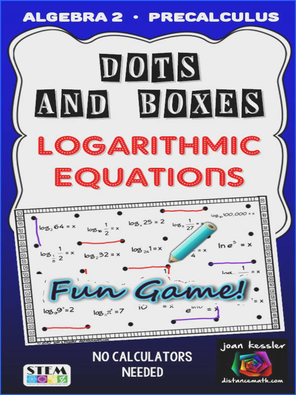 Engaging Fun game for PreCalculus and Algebra 2 students to practice solving logarithmic equations without calculators