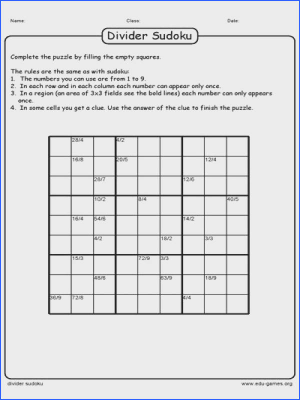 The free printable Divider Sudoku game maker creates a worksheets for your students Divider Sudoku