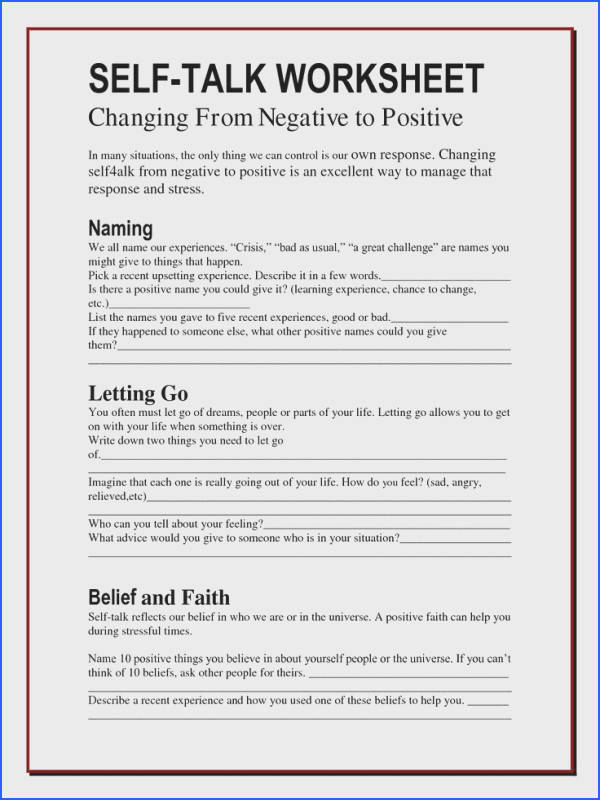 Self talk worksheets Changing Negatives to positives