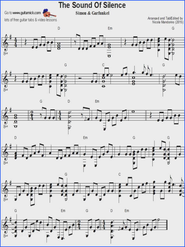 The Sound Silence fingerstyle guitar sheet music