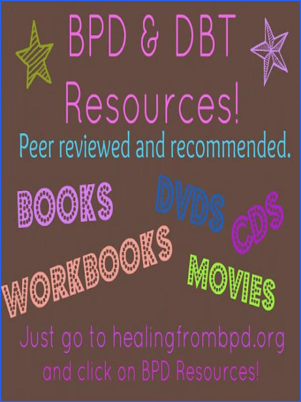 BPD and DBT Resources Workbooks guidebooks memoirs in print and for Kindle