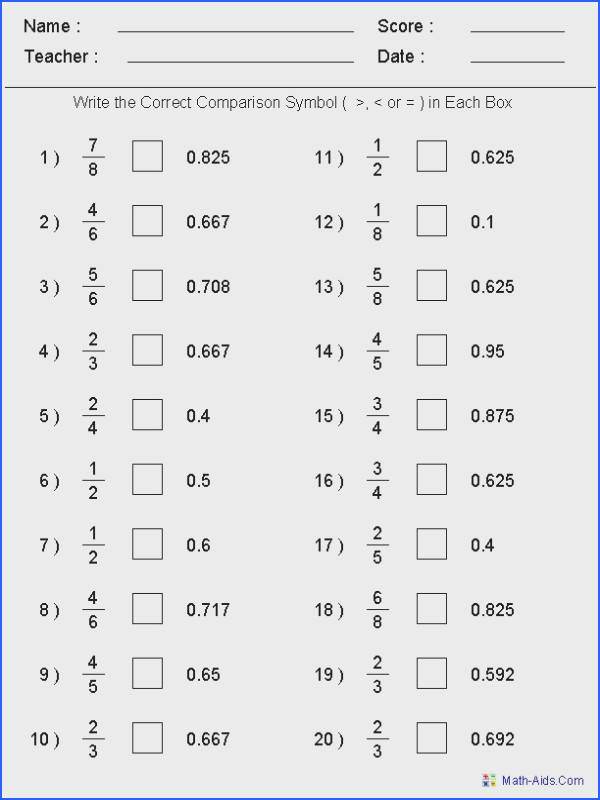 paring Fractions & Decimals Worksheets