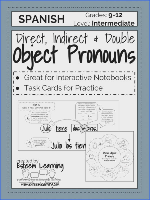 Task Cards and INB Notes for Direct Indirect and Double Object Pronouns in Spanish