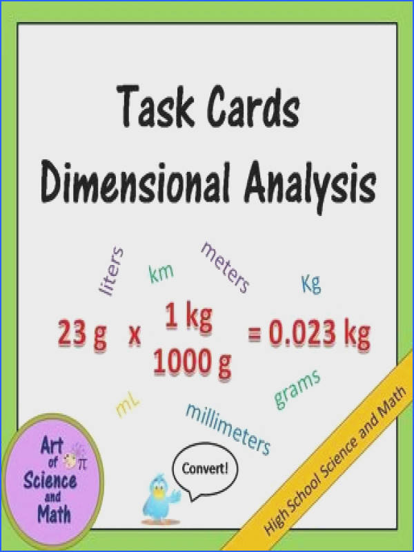 Task Cards Dimensional Analysis High School Science and Math