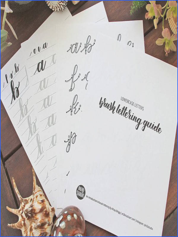 Brush lettering worksheets for lefties