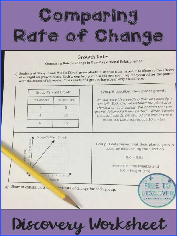 Rate of Change Discovery Worksheet Non Proportional