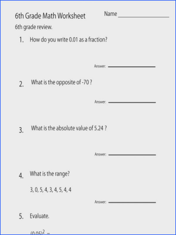 6th grade math worksheets free printable for teachers review work a part of under Math Worksheet
