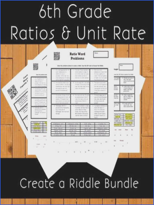 6th Grade Ratios and Unit Rate Create a Riddle Bundle 7 Riddles
