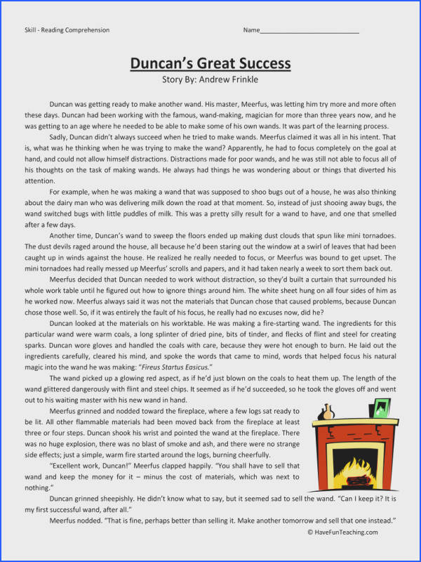 duncans great success sixth grade reading prehension worksheet
