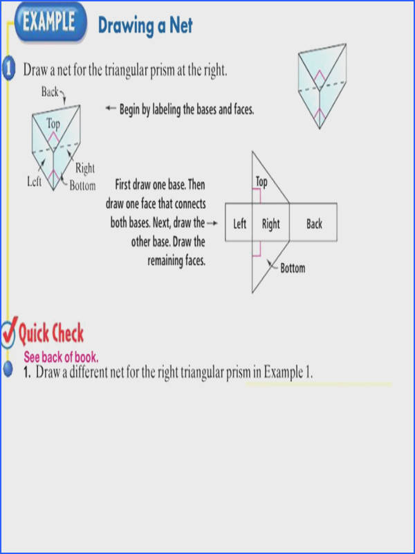30 Find the surface area of the prism LESSON 7 2 Then find the total area of the five faces top bottom left side front side back side 10 26 10 24