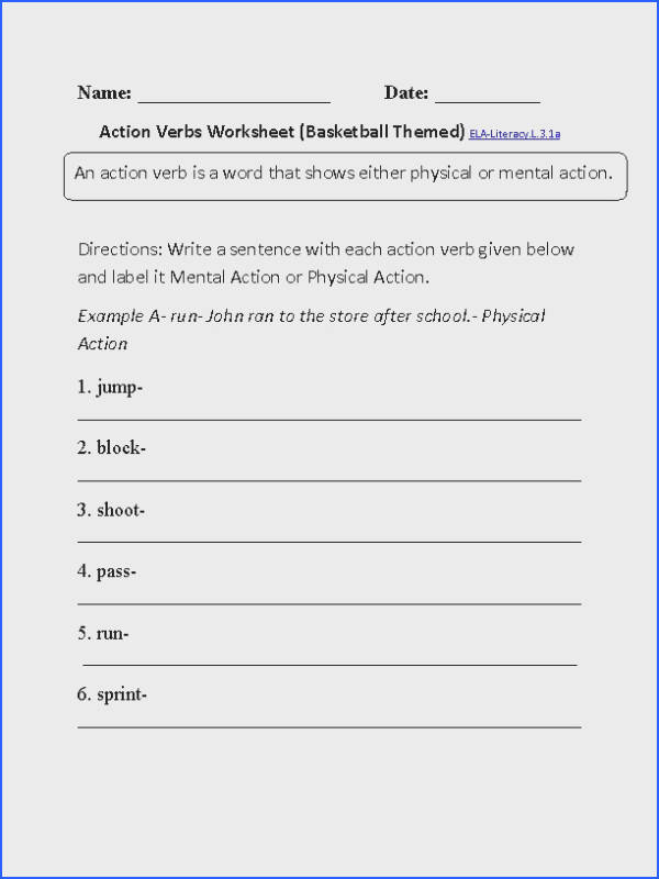 Verbs Worksheet 1 ELA Literacy L 3 1a Language Worksheet