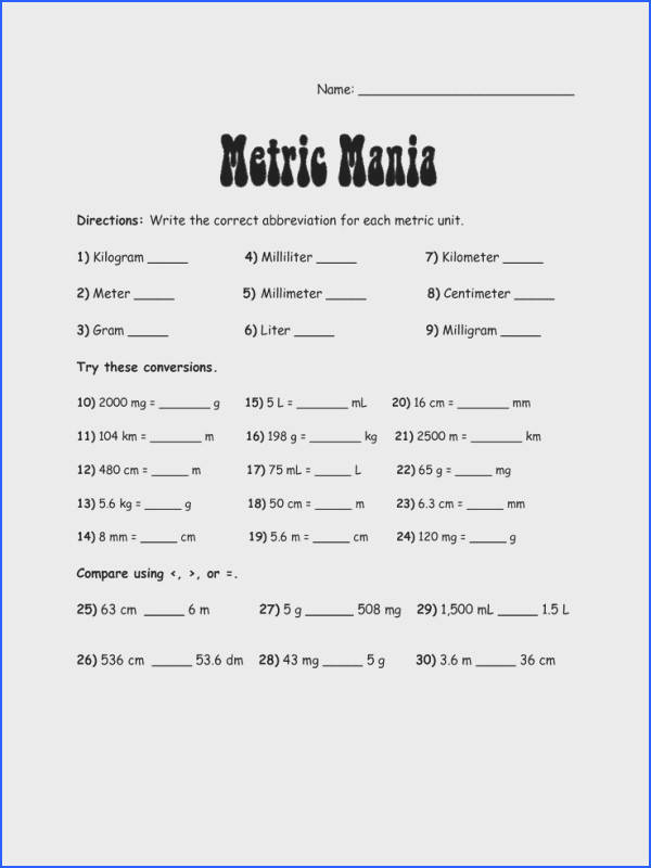 metric system charts printables