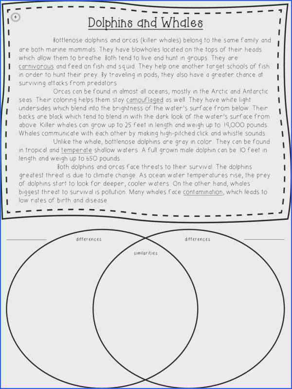 Short informational passages to teach students how to pare and contrast venn diagram organizer included on the sheet