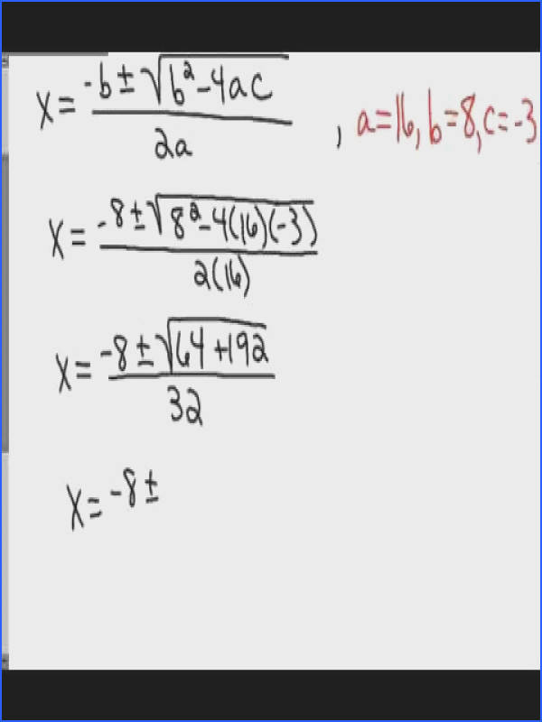 Section 1 4 Solving Quadratic Equations by the Quadratic Formula