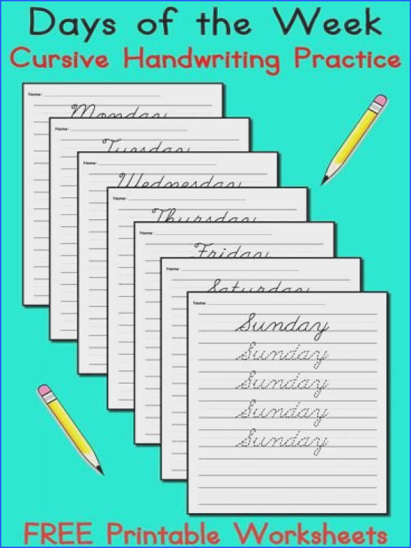 FREE Days of the Week Cursive Handwriting Worksheets These tracing and writing worksheets are great