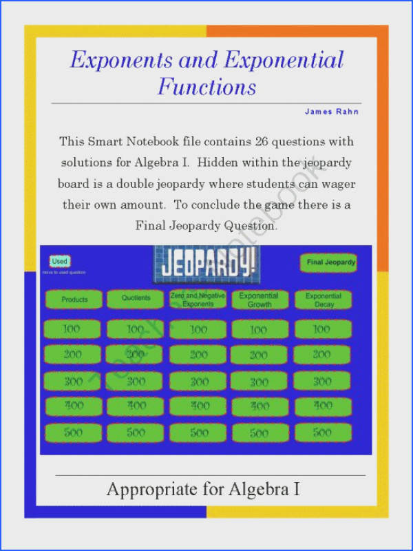 Algebra I Smartboard Jeopardy Game Exponents and Exponential Functions from jamesrahn on TeachersNotebook
