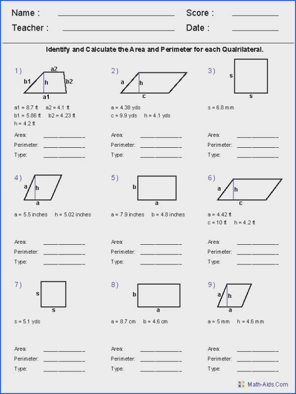 Area and Perimeter of Qudrilaterals Worksheets