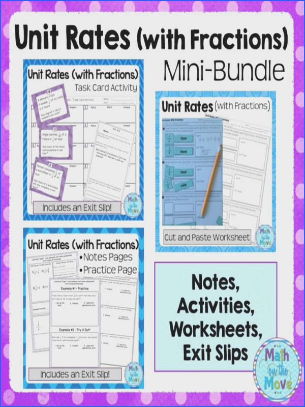 Unit Rates with Fractions Mini Bundle Notes Worksheets Activities