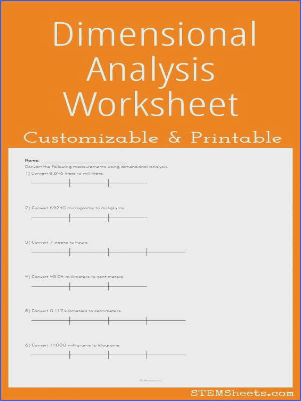 Dimensional Analysis Worksheet Customize and Print